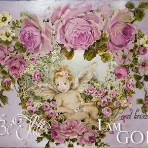 SHABBY CHIC CHERUB Garland Pink Roses Canvas Print